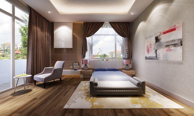 Phòng ngủ Master tầng 1 -Mẫu thiết kế biệt thự đẹp 2 tầng