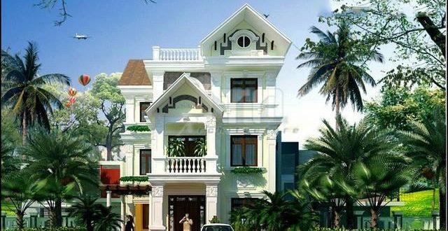 Mẫu thiết kế biệt thự đẹp 3 tầng kiến trúc Pháp - Phối cảnh