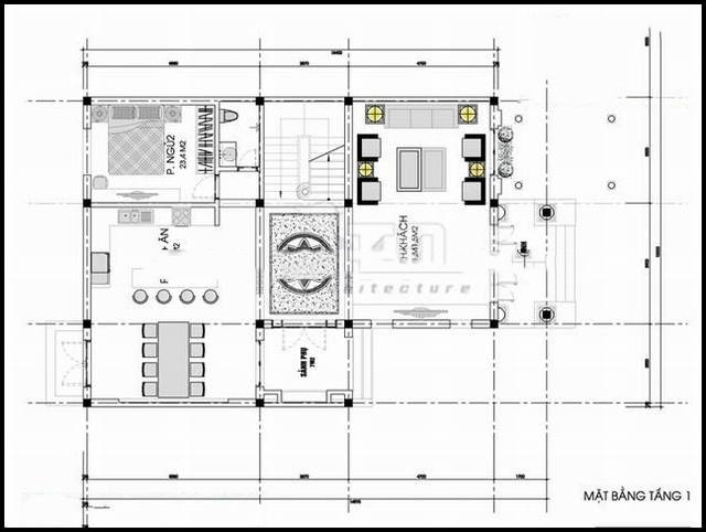 Mẫu thiết kế biệt thự đẹp 3 tầng kiến trúc Pháp - Mặt bằng tầng 1