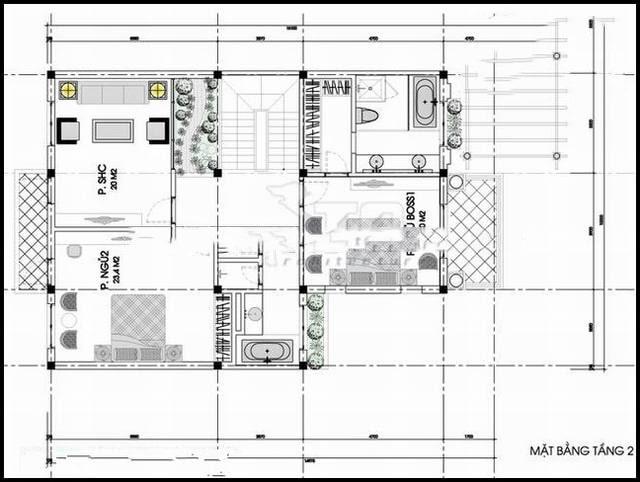 Mẫu thiết kế biệt thự đẹp 3 tầng kiến trúc Pháp - Mặt bằng tầng 2