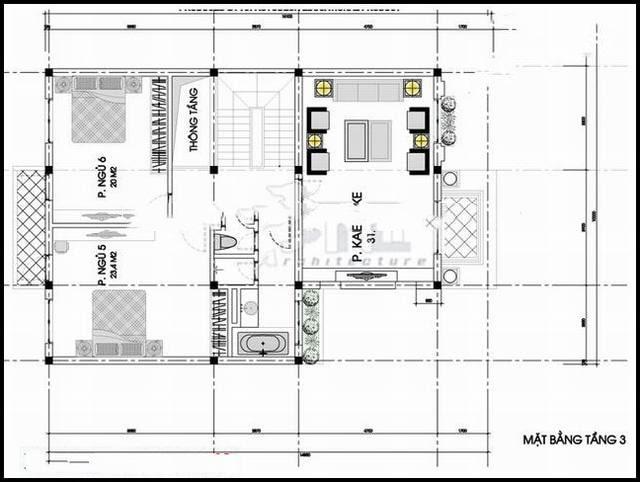 Mẫu thiết kế biệt thự đẹp 3 tầng kiến trúc Pháp - Mặt bằng tầng 3