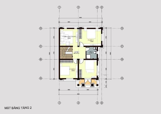 Mẫu thiết kế biệt thự đẹp 3 tầng 8x14m. 2