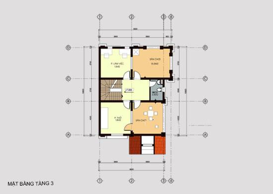 Mẫu thiết kế biệt thự đẹp 3 tầng 8x14m. 3