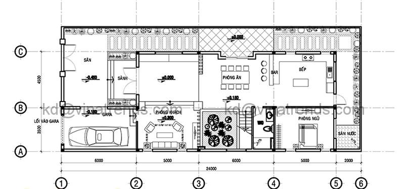 Mặt bằng tầng 1 mẫu thiết kế biệt thự đẹp 3 tầng 9x24m hiện đại
