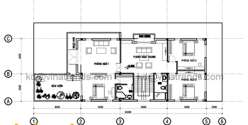 Mặt bằng tầng 2 mẫu thiết kế biệt thự đẹp 3 tầng 9x24m hiện đại