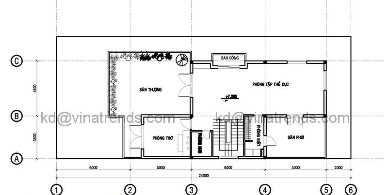 Mặt bằng tầng 3 mẫu thiết kế biệt thự đẹp 3 tầng 9x24m hiện đại