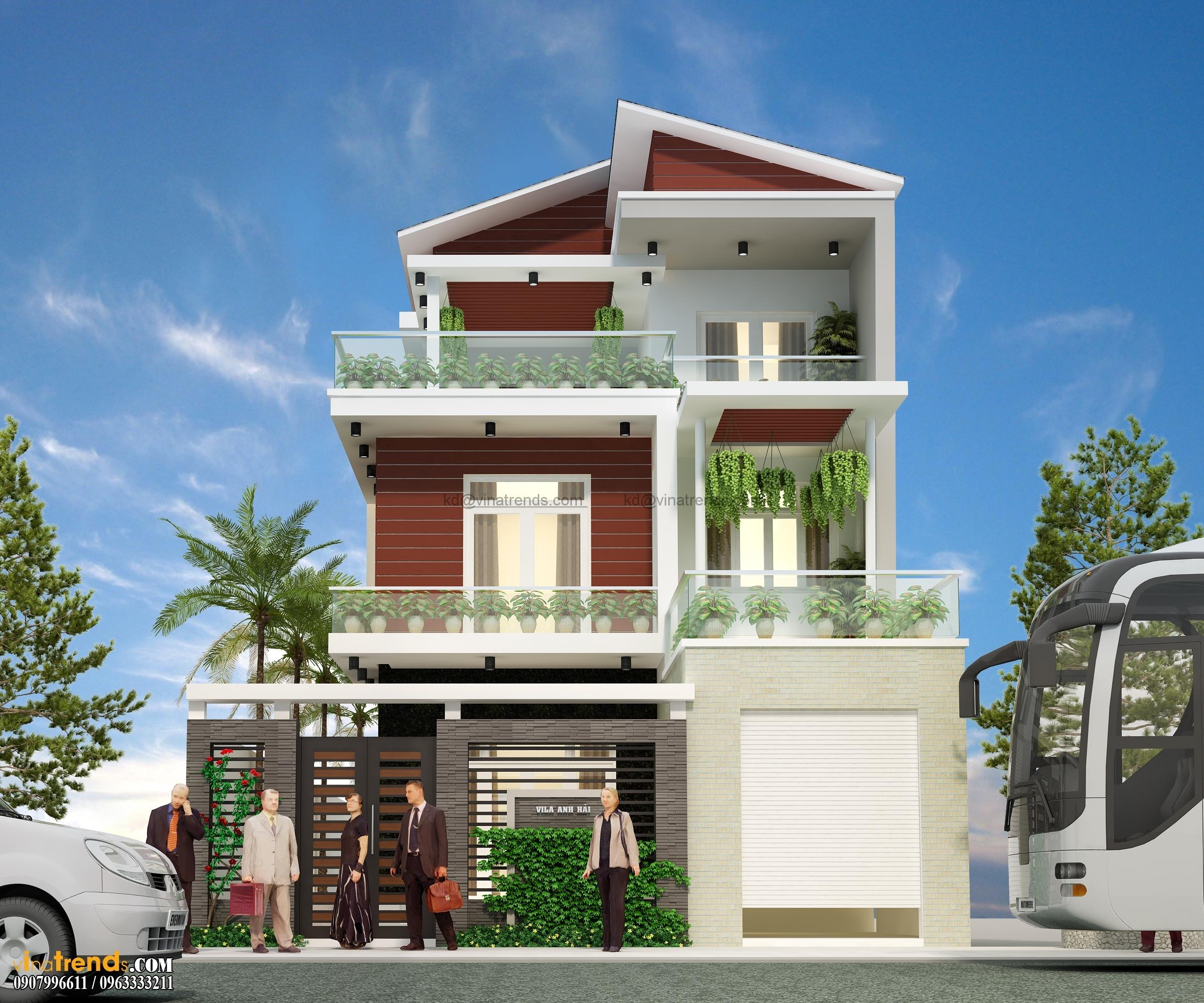 Phối cảnh mẫu thiết kế biệt thự đẹp 3 tầng 9x24m hiện đại
