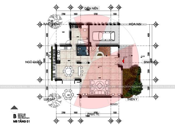 Mặt bằng tầng 1 - mẫu thiết kế biệt thự 3 tầng đẹp ấn tượng