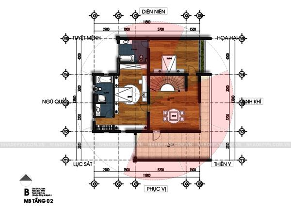 Mặt bằng tầng 2 - mẫu thiết kế biệt thự 3 tầng đẹp ấn tượng