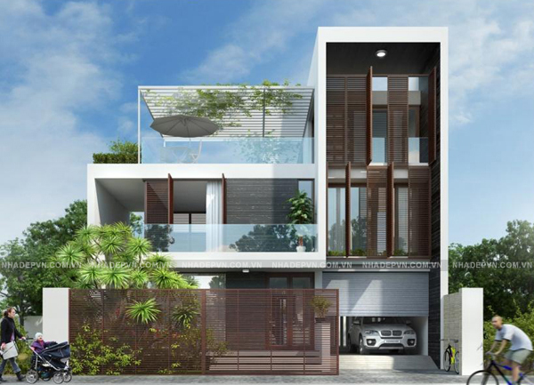 Phối cảnh - mẫu thiết kế biệt thự 3 tầng đẹp ấn tượng