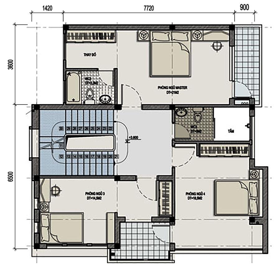 Mẫu thiết kế biệt thự đẹp 3 tầng bán cổ điển cao cấp - 3