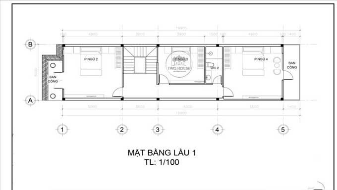 Mặt bằng tầng 2 - Mẫu thiết kế biệt thự đẹp 3 tầng bán cổ điển