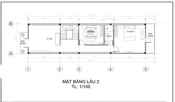 Mặt bằng tầng 3 - Mẫu thiết kế biệt thự đẹp 3 tầng bán cổ điển