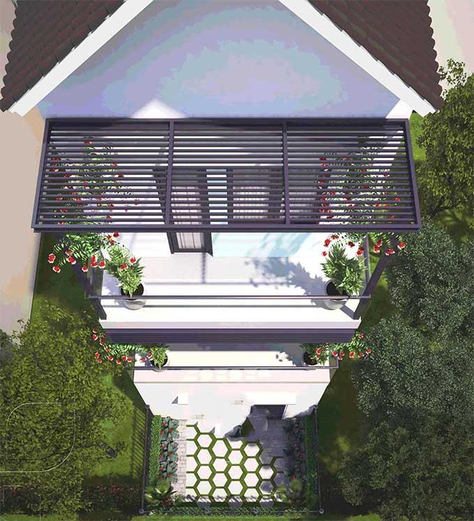 Mẫu thiết kế biệt thự đẹp 3 tầng bán cổ điển - Phối cảnh 1