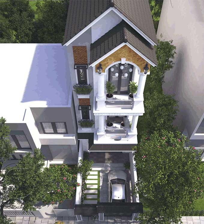 Mẫu thiết kế biệt thự đẹp 3 tầng bán cổ điển - Phối cảnh 2