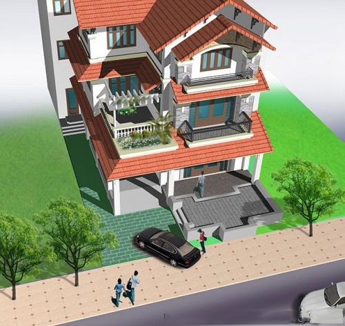 Mẫu thiết kế biệt thự đẹp 3 tầng mái Thái. 4
