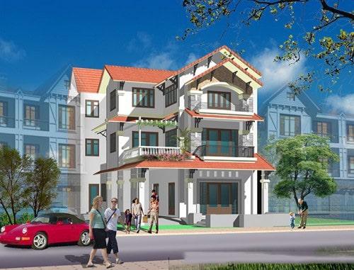 Mẫu thiết kế biệt thự đẹp 3 tầng mái Thái