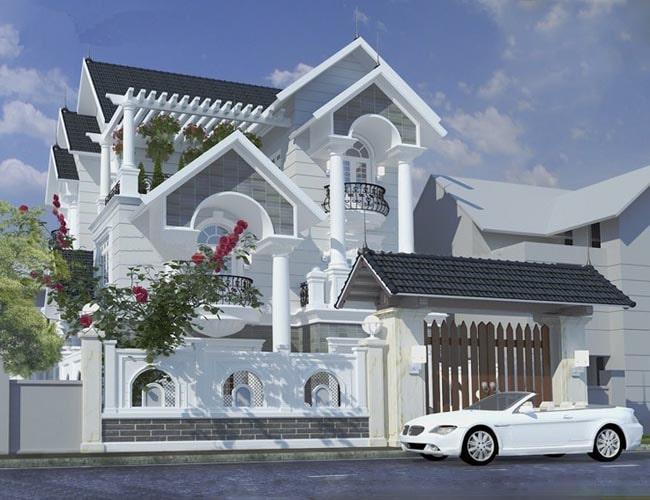 Mẫu thiết kế biệt thự đẹp 3 tầng mini kiểu Pháp - Phối cảnh 1