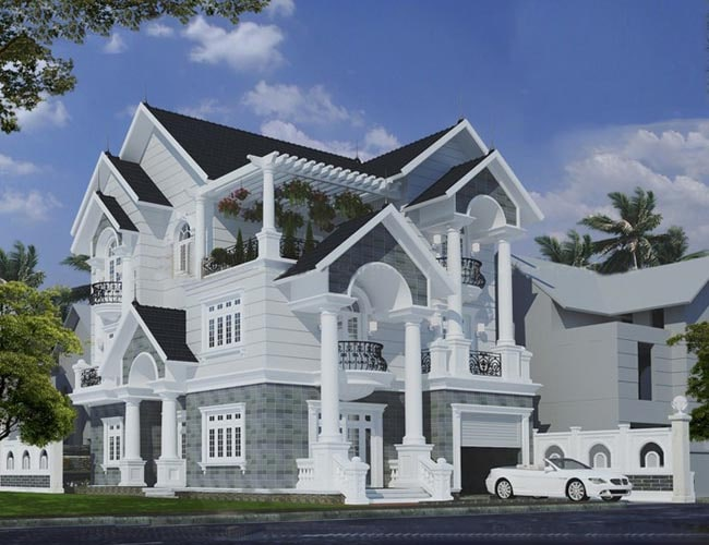 Mẫu thiết kế biệt thự đẹp 3 tầng mini kiểu Pháp - Phối cảnh 2