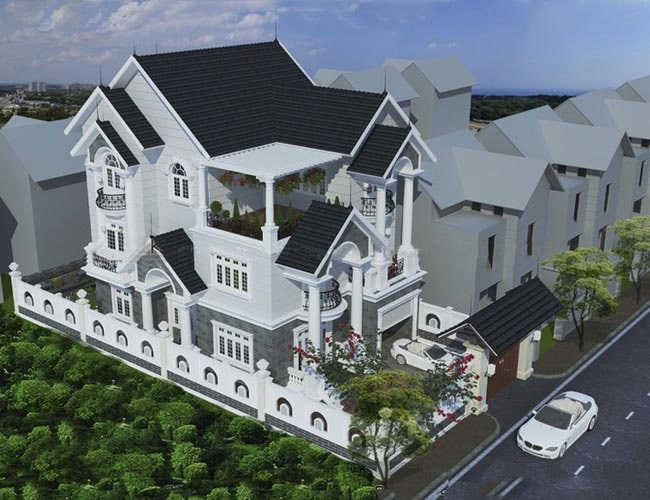 Mẫu thiết kế biệt thự đẹp 3 tầng mini kiểu Pháp - Phối cảnh 3