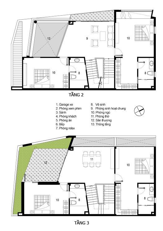 Mẫu thiết kế biệt thự đẹp 3 tầng phá cách. 2