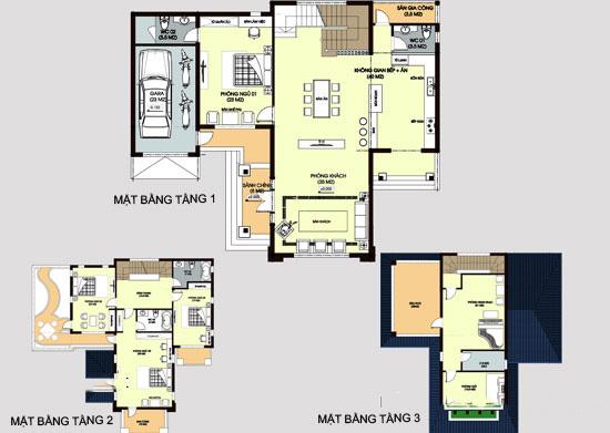 Mặt bằng - Mẫu thiết kế biệt thự đẹp 3 tầng mái thái