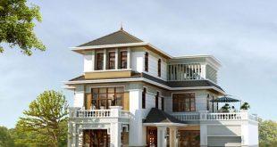 Phối cảnh tổng thể - Mẫu thiết kế biệt thự đẹp 3 tầng mái thái