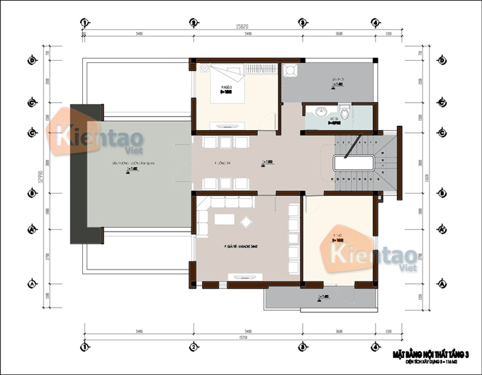 Mẫu thiết kế biệt thự đẹp 3 tầng sang trọng. 3