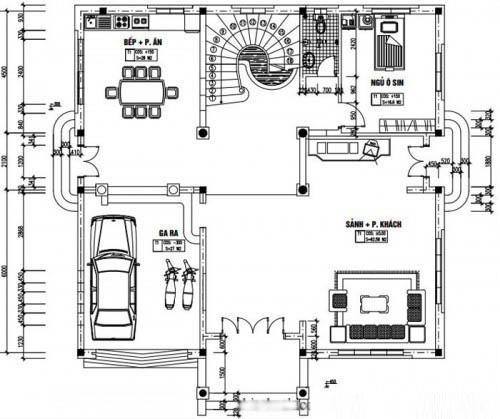 Mẫu thiết kế biệt thự đẹp 4 tầng 13x14m- Mặt bằng tầng 1
