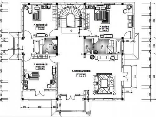 Mẫu thiết kế biệt thự đẹp 4 tầng 13x14m- Mặt bằng tầng 2
