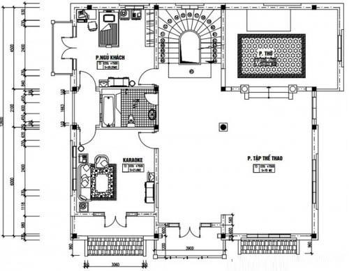 Mẫu thiết kế biệt thự đẹp 4 tầng 13x14m- Mặt bằng tầng 3