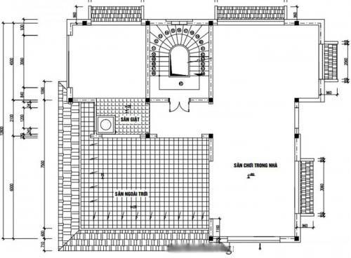 Mẫu thiết kế biệt thự đẹp 4 tầng 13x14m- Mặt bằng tầng 4
