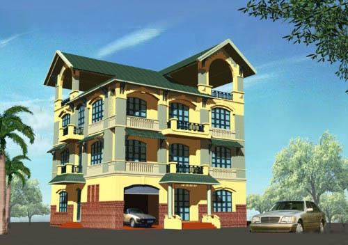 Mẫu thiết kế biệt thự đẹp 4 tầng 13x14m- Phối cảnh tổng thể