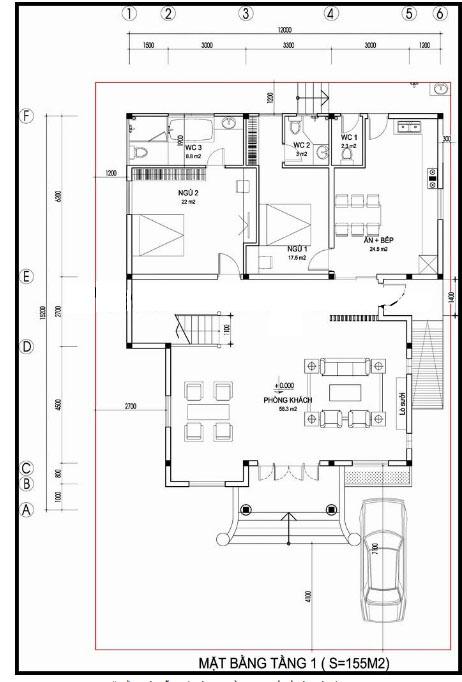 Mẫu thiết kế biệt thự đẹp cổ điển 2 tầng 155m2- Mặt bằng tầng 1