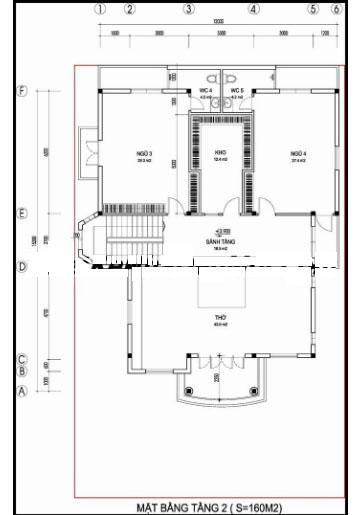 Mẫu thiết kế biệt thự đẹp cổ điển 2 tầng 155m2- Mặt bằng tầng 2