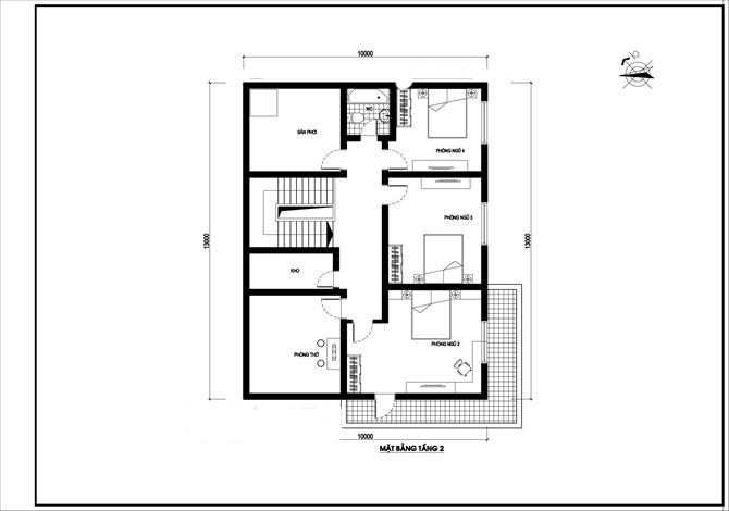 Mặt bằng tầng 2 - biệt thự nhà vườn