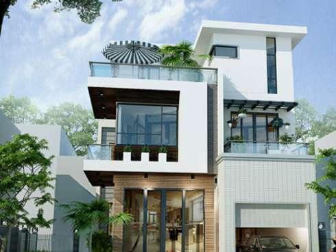 Mẫu thiết kế biệt thự mái bằng đẹp ấn tượng. 2