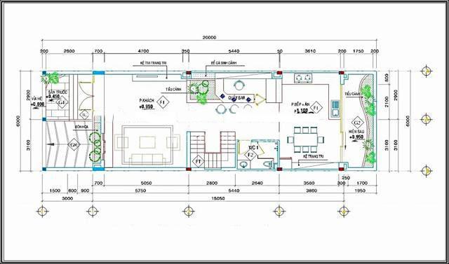 Mẫu thiết kế biệt thự mini 3 tầng - Mặt bằng tầng 1