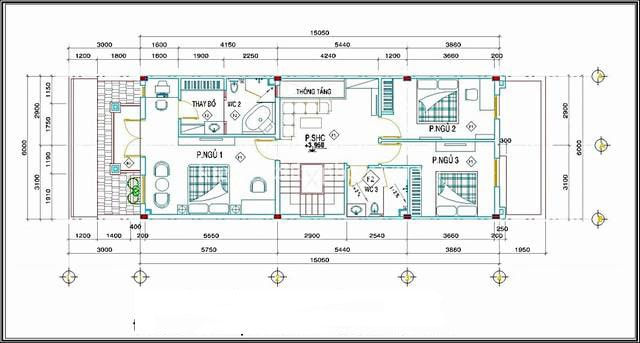 Mẫu thiết kế biệt thự mini 3 tầng - Mặt bằng tầng 2