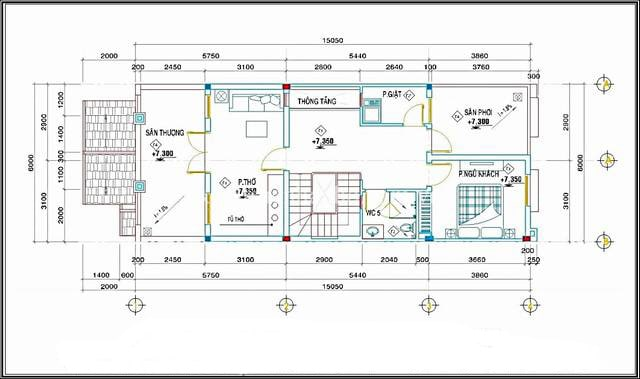 Mẫu thiết kế biệt thự mini 3 tầng - Mặt bằng tầng 3