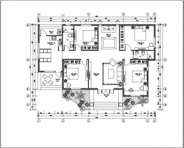 Mẫu thiết kế biet thự nhà vườn 1 tầng đẹp. 2