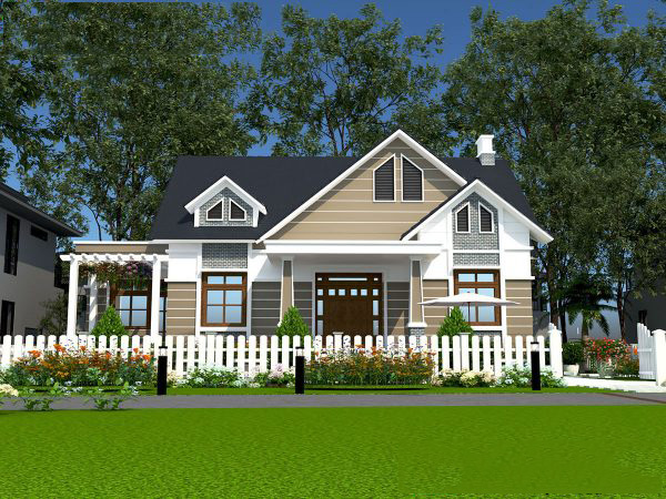 Mẫu thiết kế biet thự nhà vườn 1 tầng đẹp. 3