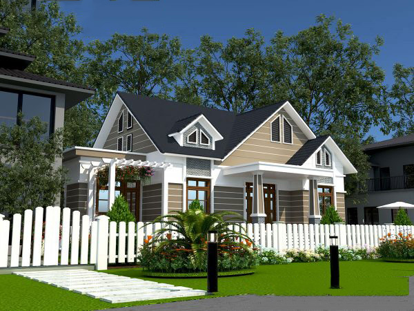 Mẫu thiết kế biet thự nhà vườn 1 tầng đẹp. 4