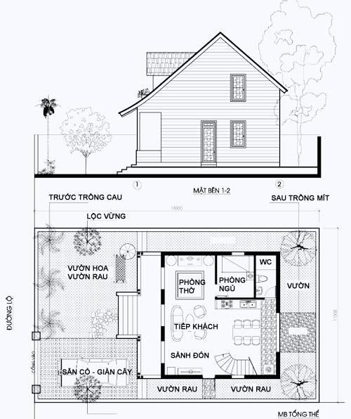 Mẫu thiết kế biệt thự nhà vườn 2 tầng - Mặt bằng tổng thể