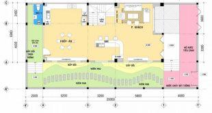 Mẫu thiết kế biệt thự nhà vườn 2 tầng - Mặt bằng tầng 1