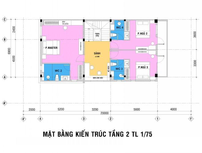 Mẫu thiết kế biệt thự nhà vườn 2 tầng - Mặt bằng tầng 2