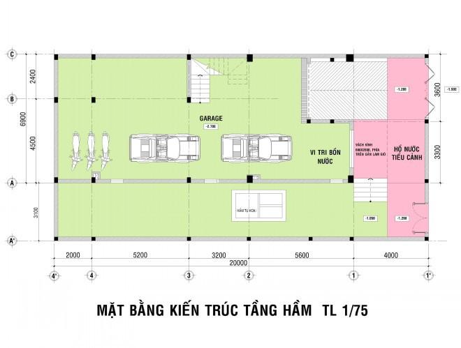Mẫu thiết kế biệt thự nhà vườn 2 tầng - Mặt bằng tầng hầm