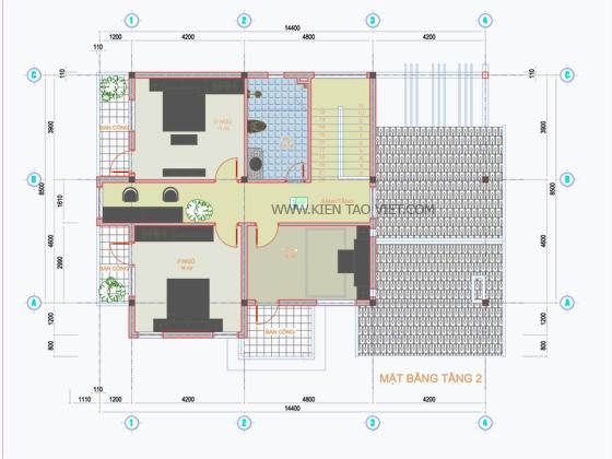Mặt bằng tầng 2 - biệt thự tân cổ điển