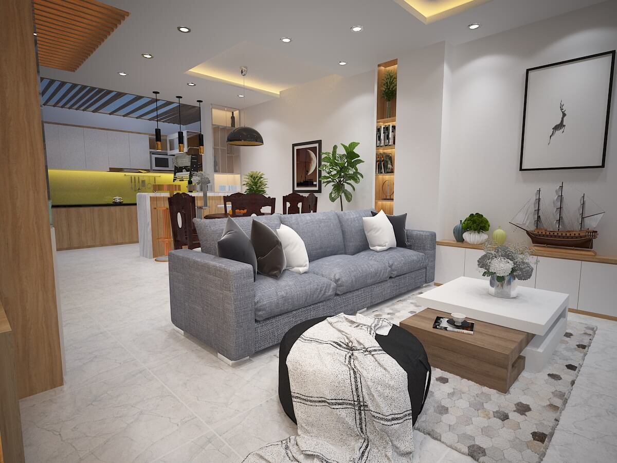 Phòng khách - Nhà biệt thự 4 tầng 95m2
