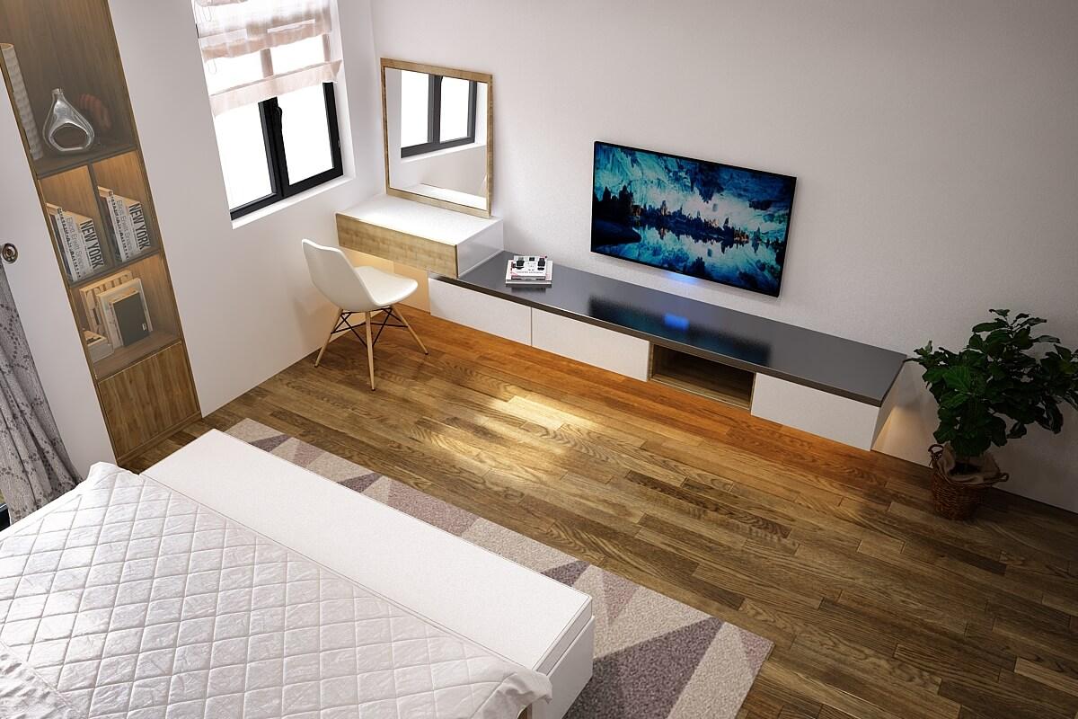 Phòng ngủ sàn gỗ cao cấp - Nhà biệt thự 4 tầng 95m2